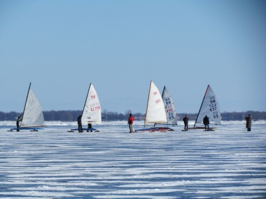 ice sailing competition boats on lake ontario winter