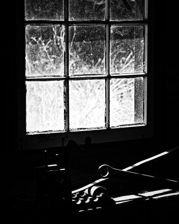 Inside blacksmith shop at O'Hara's Mill Homestead