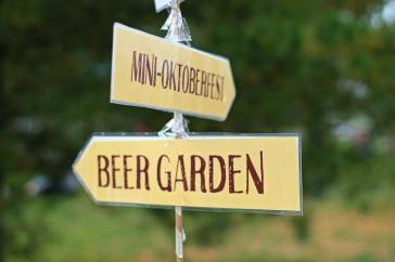 Signs for the beergarden at Memorial Centre Farmer's Market Oktoberfest in Kingston, Ontario.