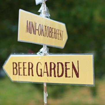 Signs for the beergarden at Memorial Centre Farmer's Market Oktoberfest in Kingston, Ontario.