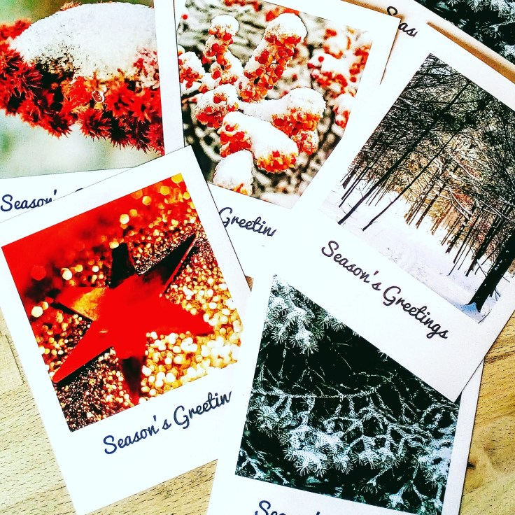 Array of colourful, handcrafted Christmas cards, available online.