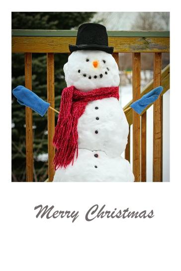 A whimsical snowman - Christmas card.