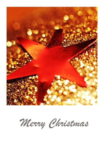 Sparkling, red star on gold backdrop - Christmas card.